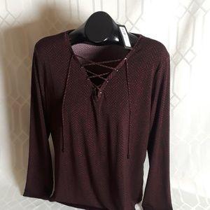 NWT Worthington red & Black long sleeve top XL New